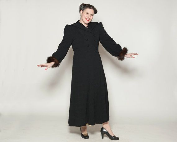 1940s Big Girl Coat #vintage #black #crepe #rayon #1940s #plussize #furcuffs #coat #evening @Etsy