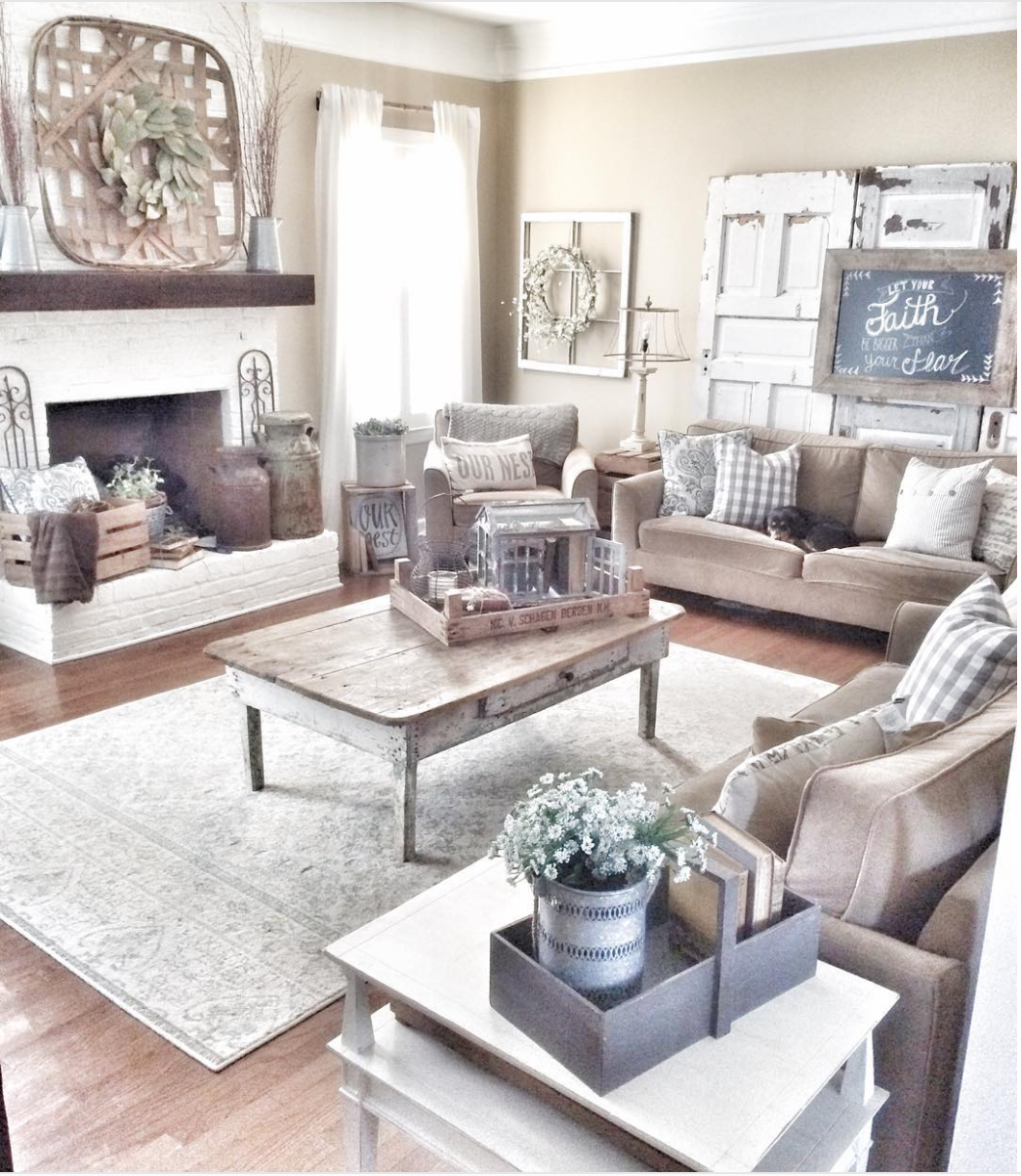 20 Gorgeous Rustic Living Room Ideas That Will Melt Your Heart With Warmth Cute Diy Projects Rustic Farmhouse Living Room Farmhouse Style Living Room Farm House Living Room