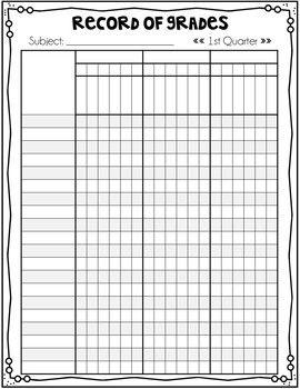 Record Book Grade Book Editable Grade Book Grade Book Printable Teacher Grade Book