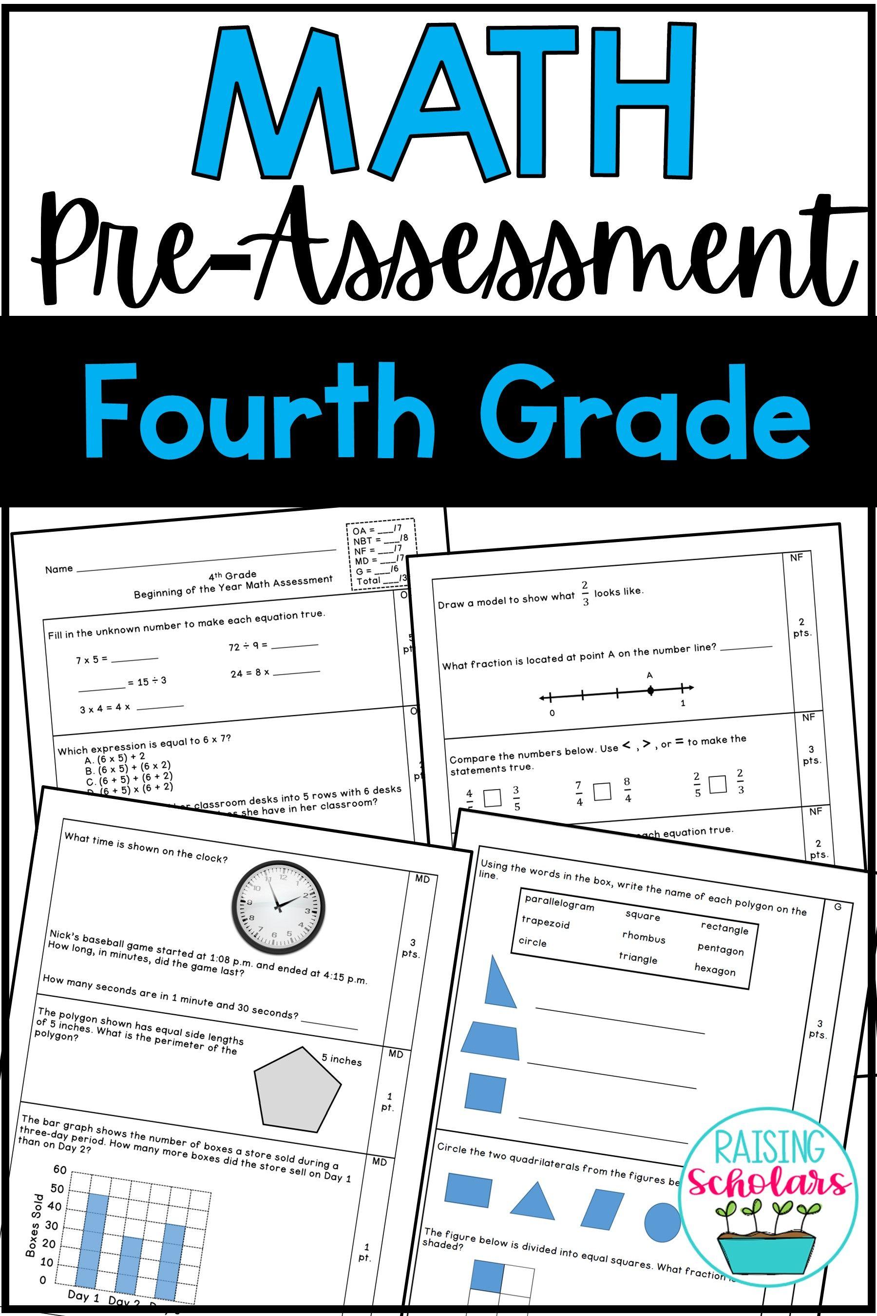 Beginning Of Year 4th Grade Math Pre Assessment