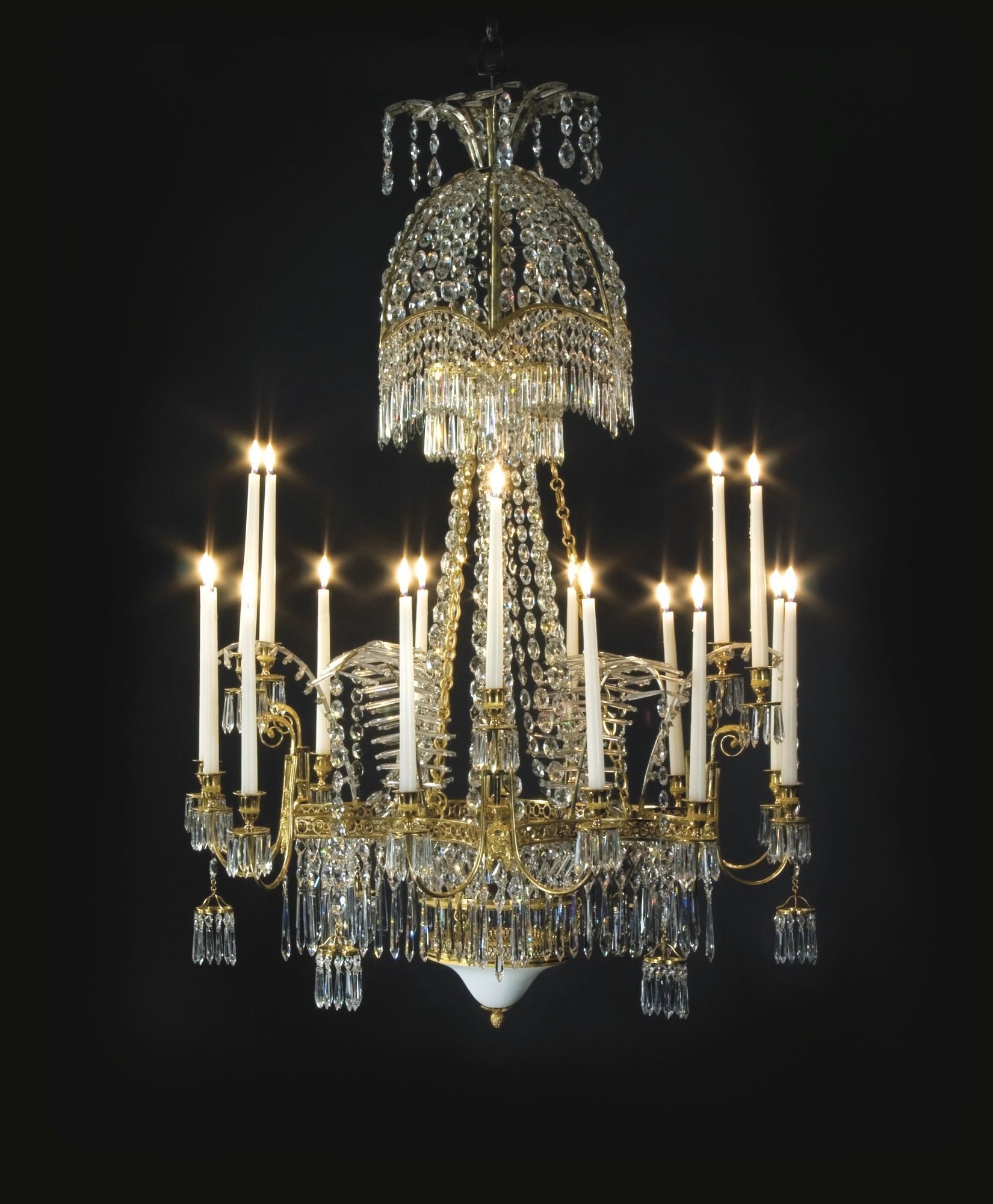 A German Neoclassical Cut Glass Mounted Ormolu Eighteen Light Chandelier, Attributed To