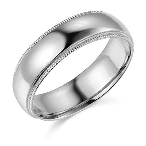 14k White Gold 6mm Comfort Fit Plain Milgrain Wedding Band Size 11 Continue To The Product At T Milgrain Wedding Bands Jewelry Wedding Rings Wedding Bands