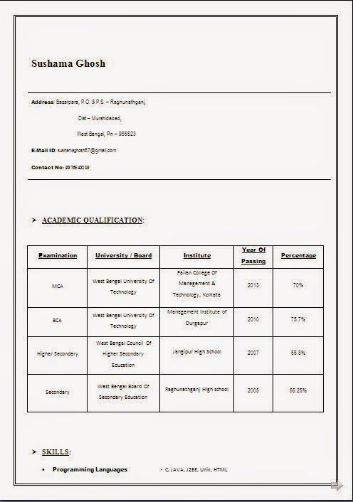 examples of resume format Sample Template Example ofExcellent - resume format for mca
