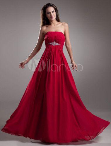 aaef93814de Gorgeous Chiffon Beading Strapless Women s Evening Dress - Milanoo.com. Red  dress Bridesmaid Dresses 2018 ...