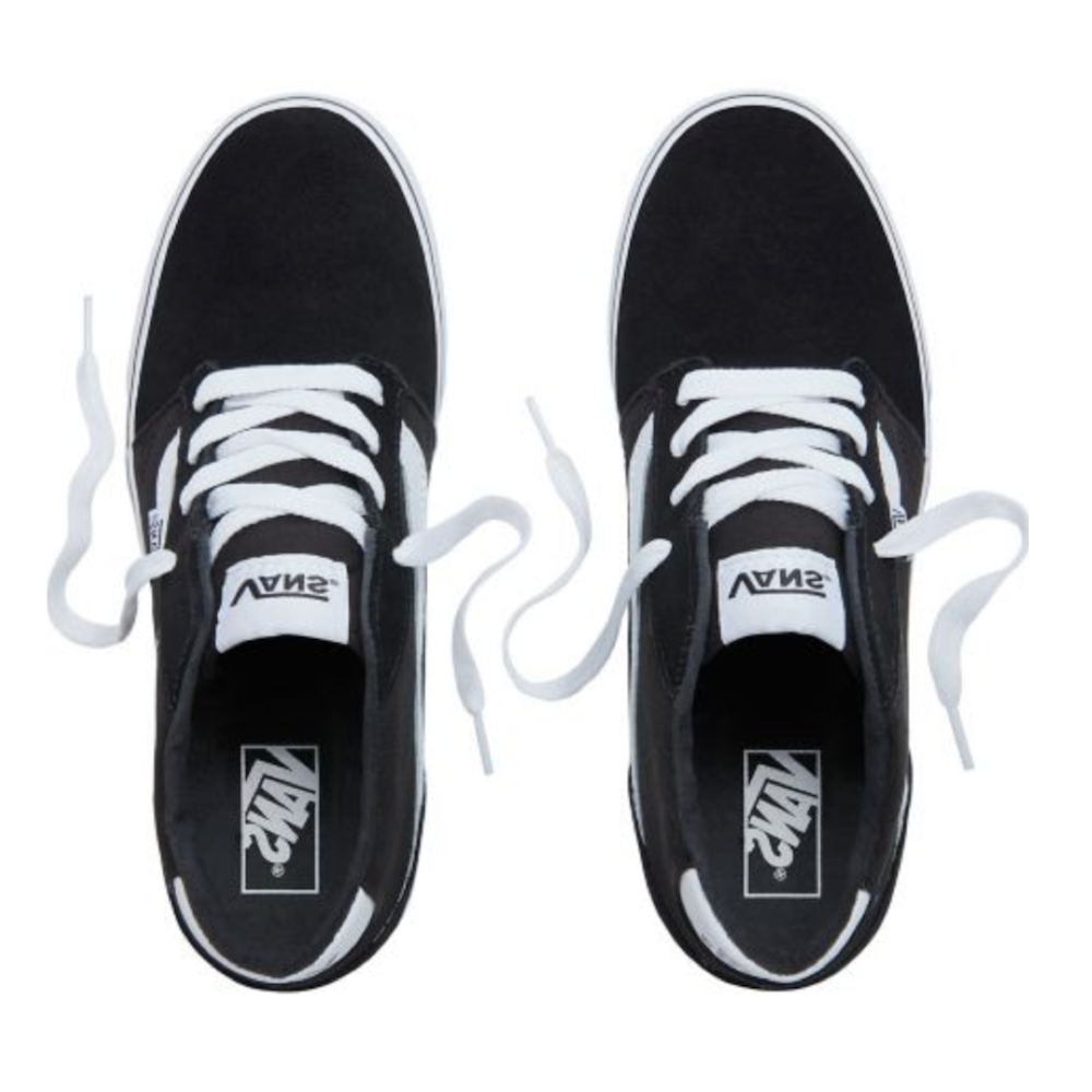 e60615b5b0 Vans Chapman Mid Stripe Trainers - Suede Canvas Black White All Sizes