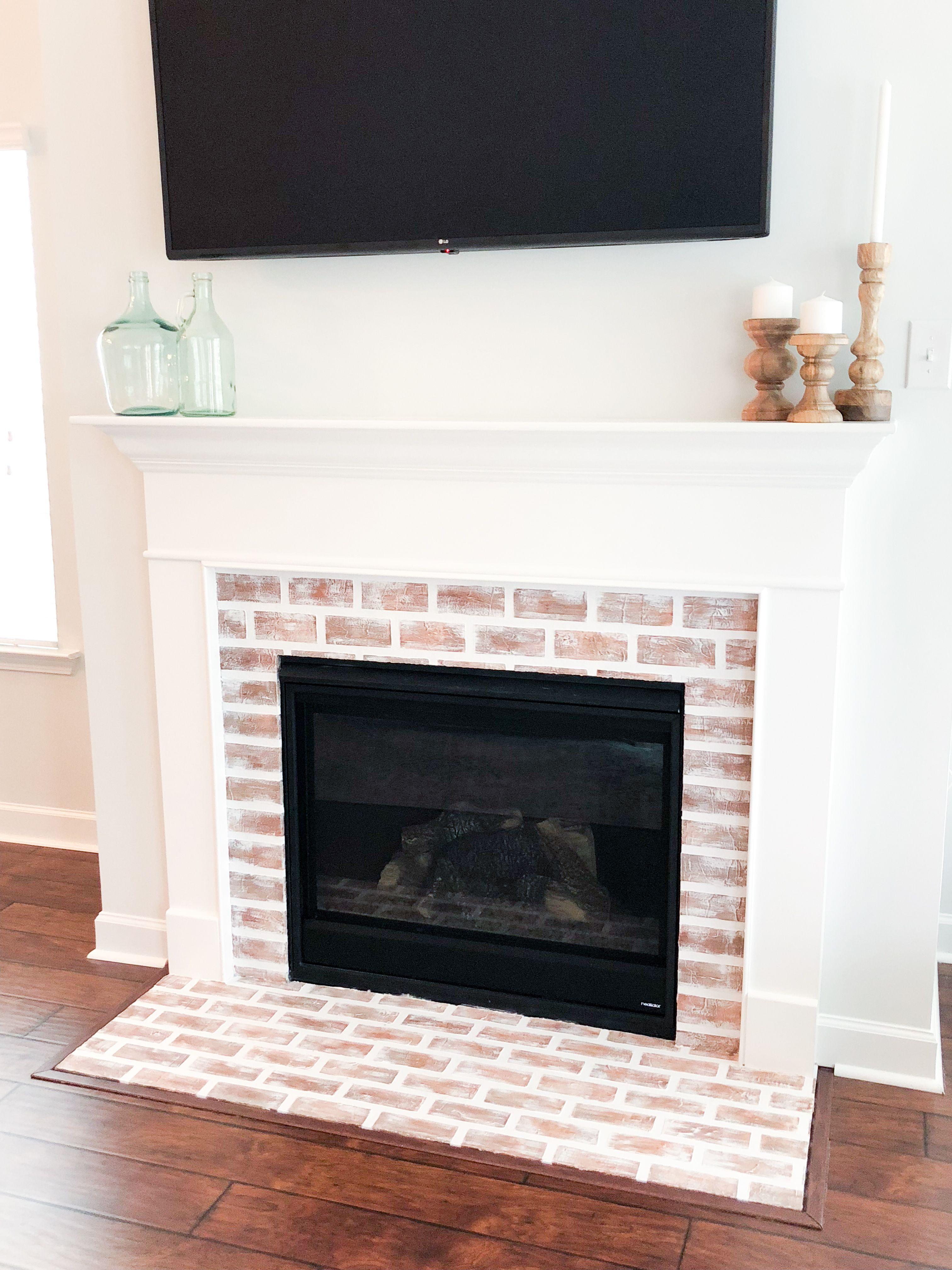 Diy Faux Brick Fireplace Faux Brick Brick Fireplace Makeover