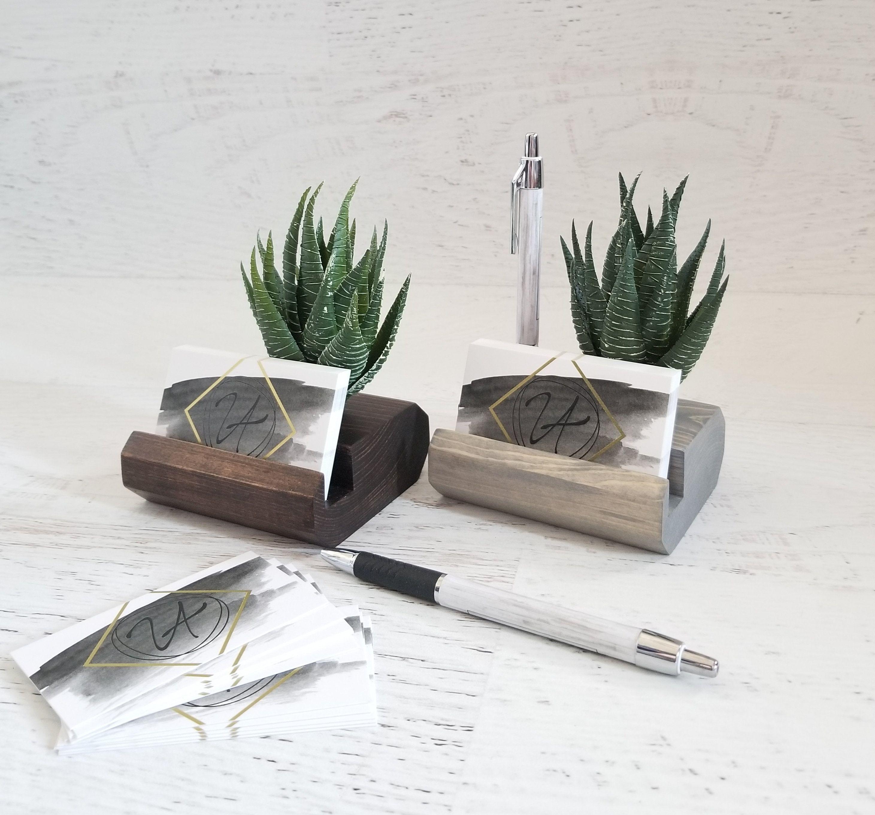 Wood Pen And Business Card Holder Desk Accessories Desk Etsy Card Holder Desk Business Card Holders Wood Pens