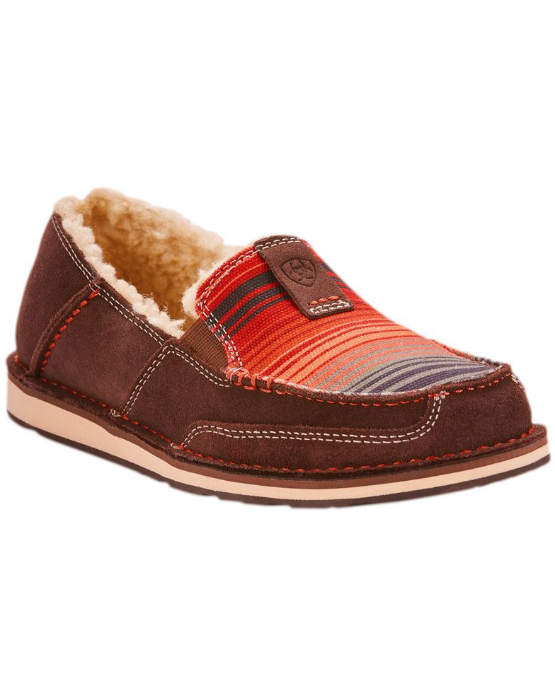 0476ff2fb2f1 Ariat Women's Southwestern Serape Cruiser Fleece Slip On Shoes - Moc Toe,  Chocolate