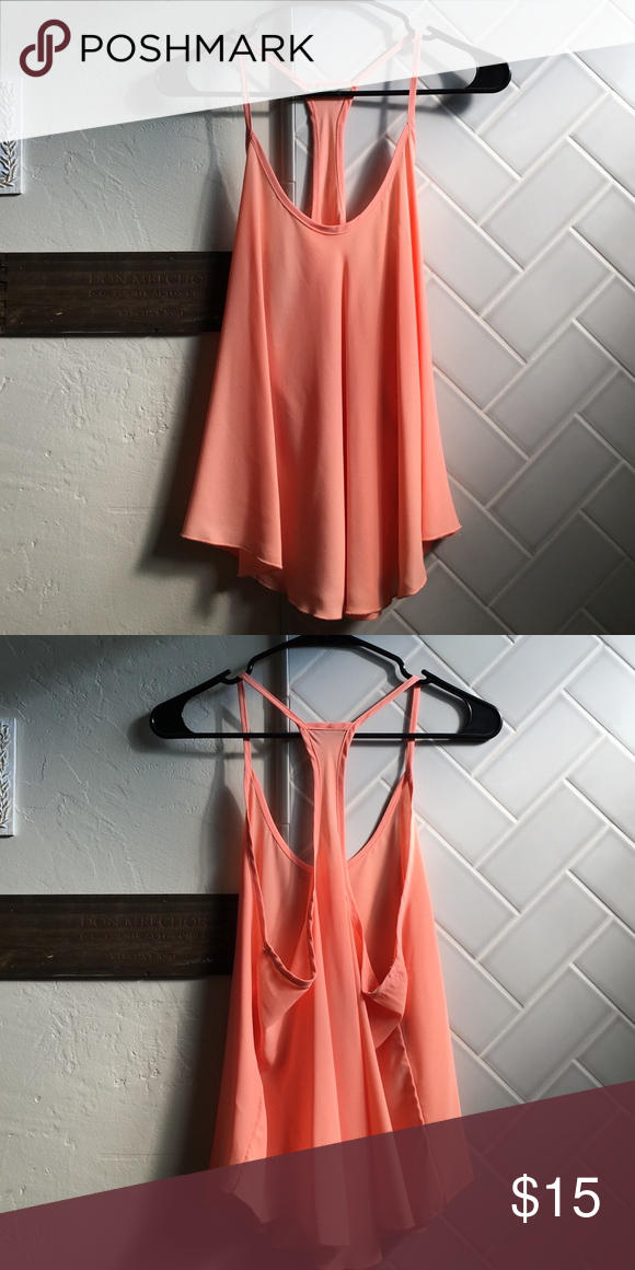 Coral flow top Super adorable coral flow top! Perfect with a bandeau underneath! Never worn! Perfect condition! Forever 21 Tops