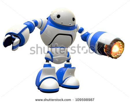 Industrial robot or some sort of battle bot with a heat gun ready for action. - stock photo