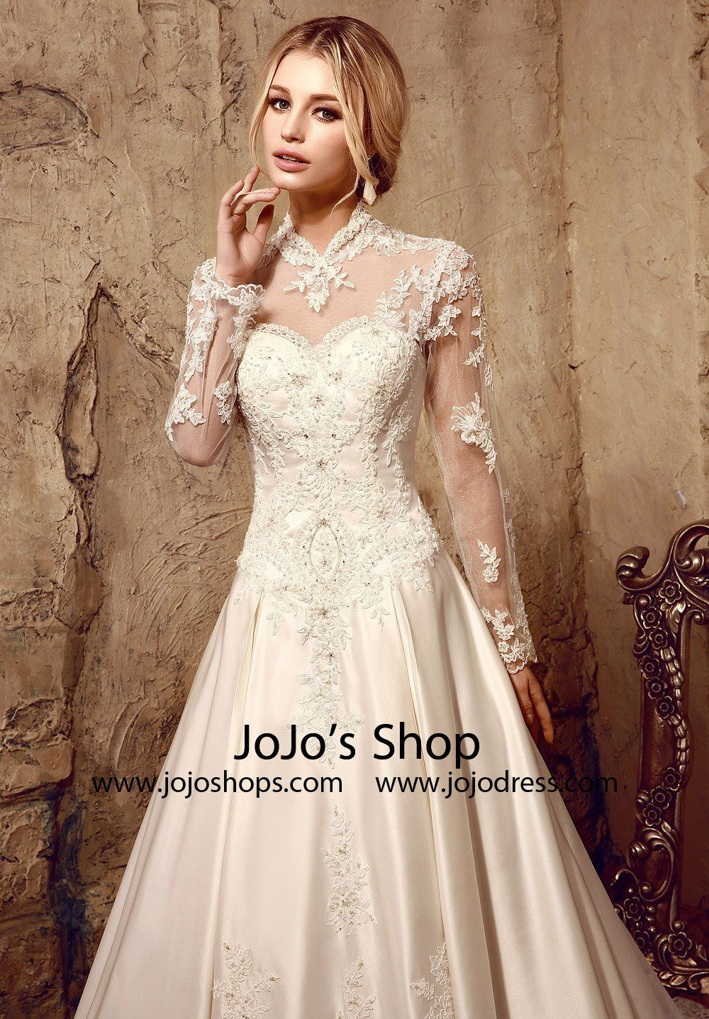 Long Sleeves Victorian Style Modest Lace Wedding Dress Hl1009