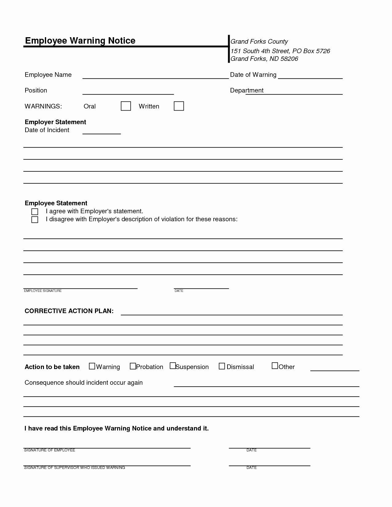Free Printable Employee Write Up Form New Free Printable Employee Warning Notice Templates Business Template Template Free Write up at work template