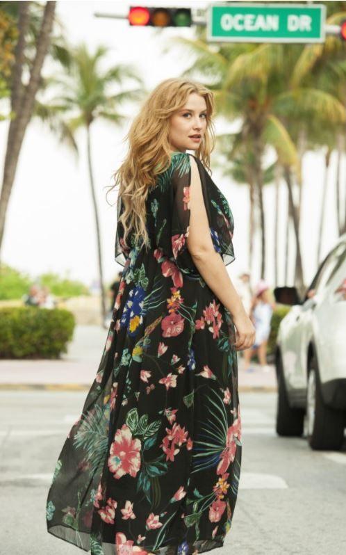 2f6666511a9d Robe longue kaftan imprimé fleuri Castaluna mode femme grande taille ...