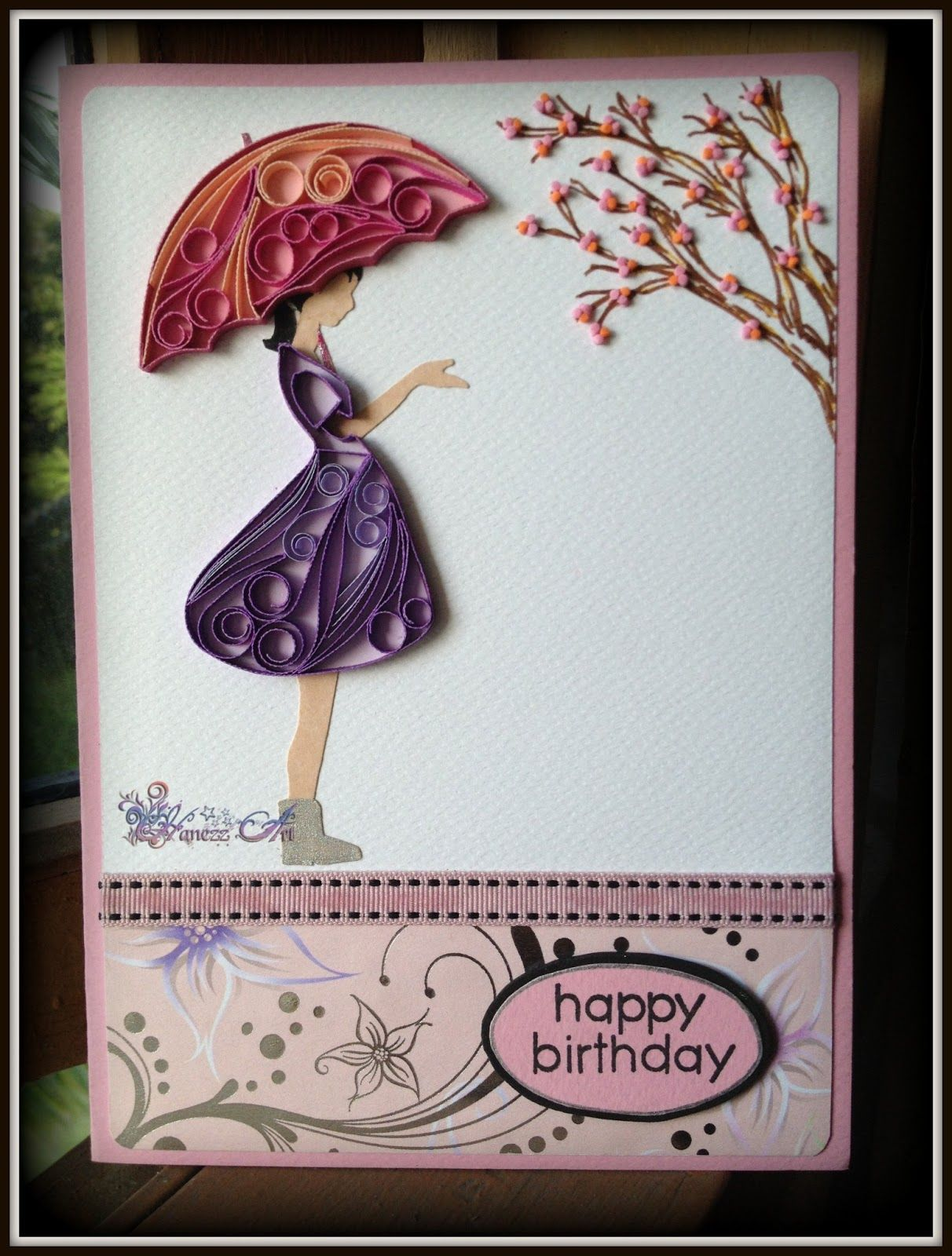 Birthday greeting card with quilled umbrella and girl s dress