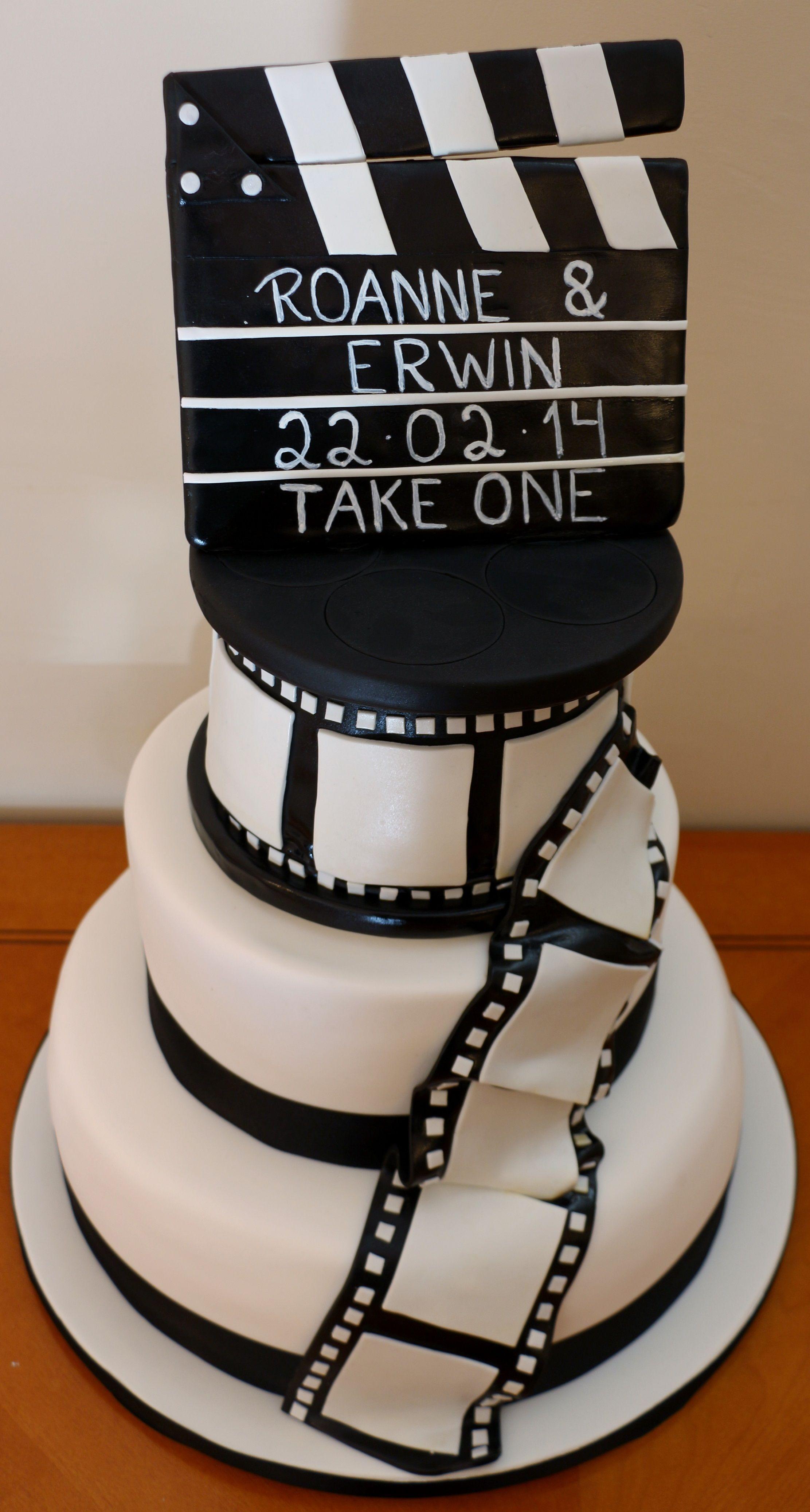 Movie Reel Amp Clapper Board Wedding Cake Food Foto