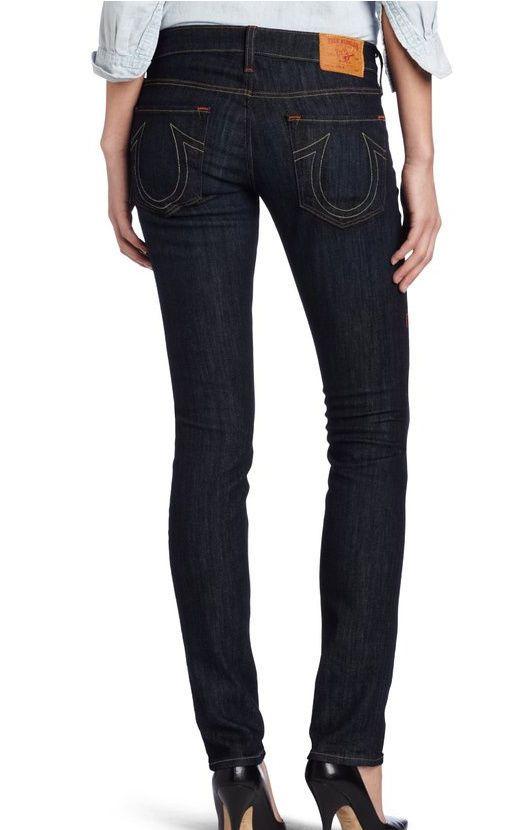 True Religion Women's Stella Skinny Jeans dark distressed wash SZ 30 EUC  180$ #TrueReligion