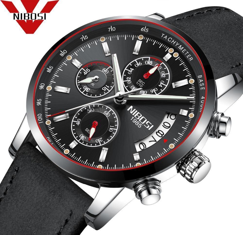 Nibosi Men Watch Top Brand Luxury Male Leather Waterproof Sport Quartz Chronograph Military Wrist Watch Men Clo Watches For Men Wristwatch Men Military Watches