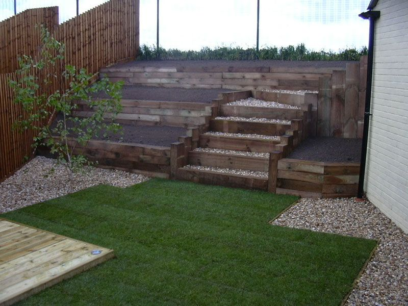 timber retaining wall garden