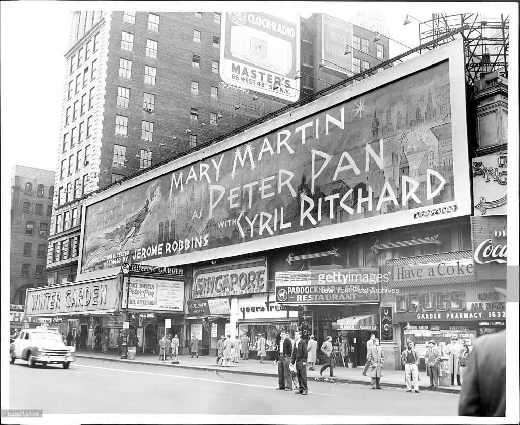 broadway marquee peter pan winter garden theatre mary martin