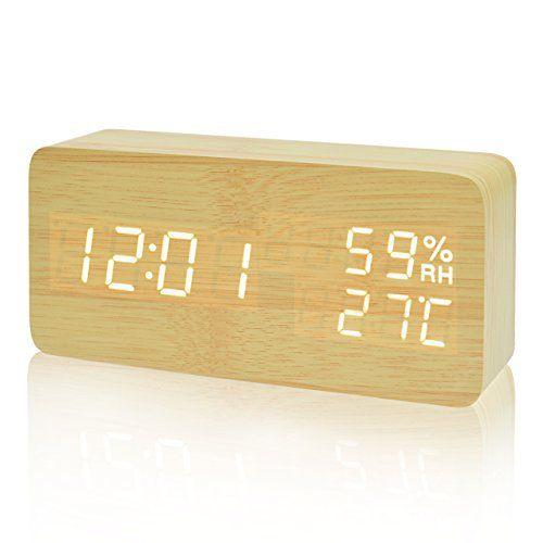FIBISONIC Horloge en bois Led Réveil digital en bois température et