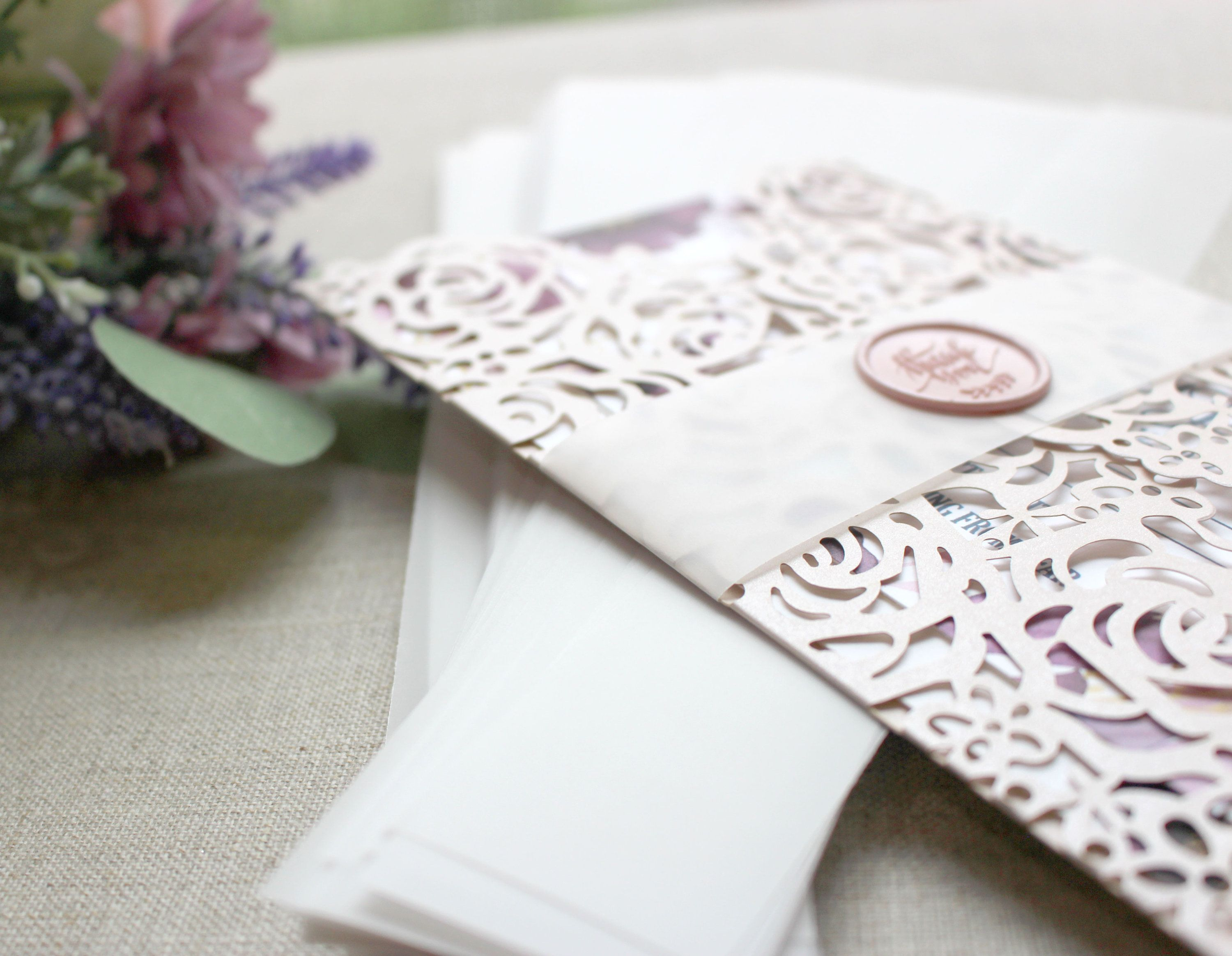Wedding Invite Belly Bands Vellum BellyBands for 5 x 7