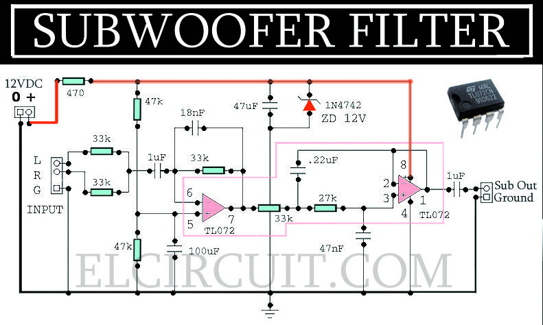 complete subwoofer filter circuit tl072 mach mapli pinterest rh pinterest com Active Subwoofer Crossover Mixer From DJ Powered Subwoofer Diagram