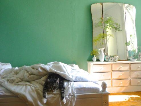die Wandfarbe und dieser alte Klappspiegel