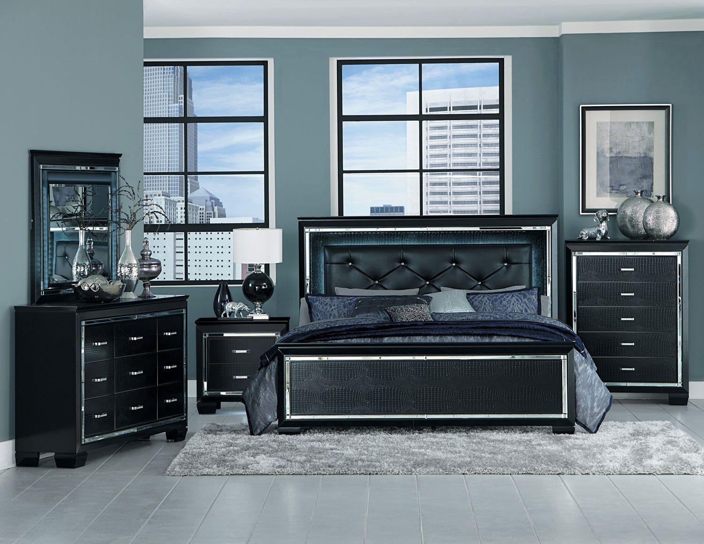 Homelegance Allura Bedroom Set with LED Lighting Black