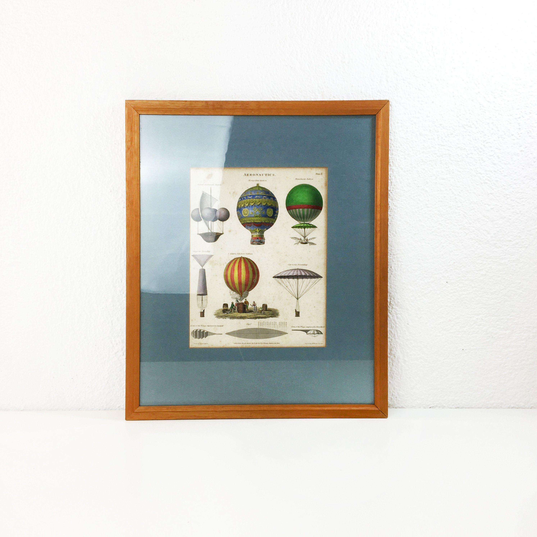 Vintage A. W. Warren und J. Davis Druck - Joseph Clement - Auf Papier mit Rahmung - Technische Illustration - Frühes Ballondesign - Vor 2000 von Wandabazaa auf Etsy