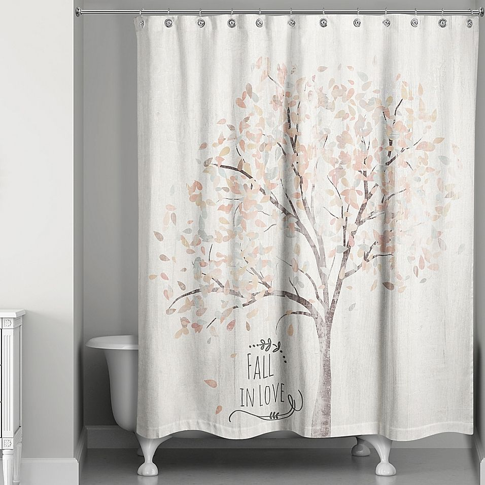 Fall In Love Shower Curtain Orange White Curtains Bathroom