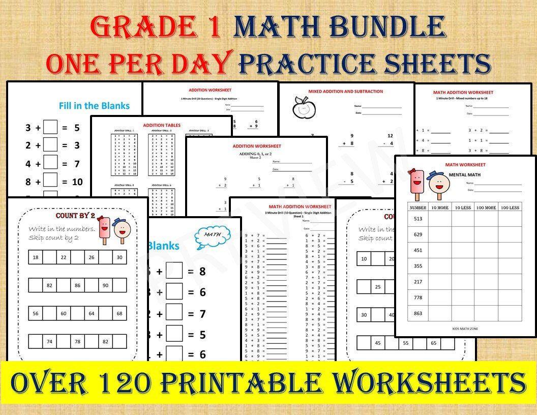 Grade 1 Math Workbook One Per Day 120 Math Worksheets