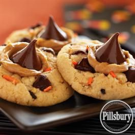 what you get when you combine peanut butter blossoms and pillsbury funfetti halloween sugar cookie mix funfetti halloween peanut butter and chocolate