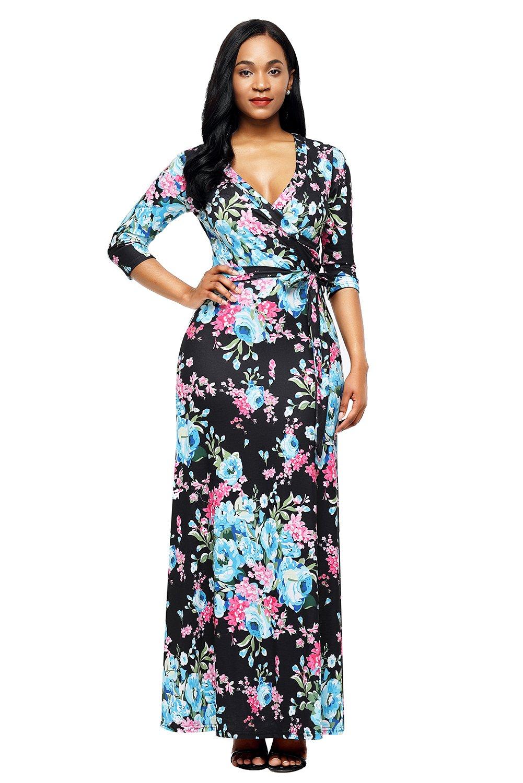 Black blue floral print wrapped long boho dress print wrap
