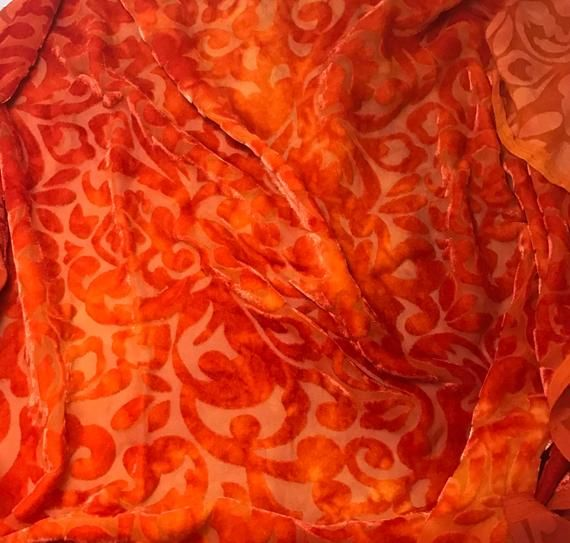 """Hand Dyed Burnout Silk VELVET Fabric Golden Yellow SCROLL 9/""""x22/"""" remnant"""