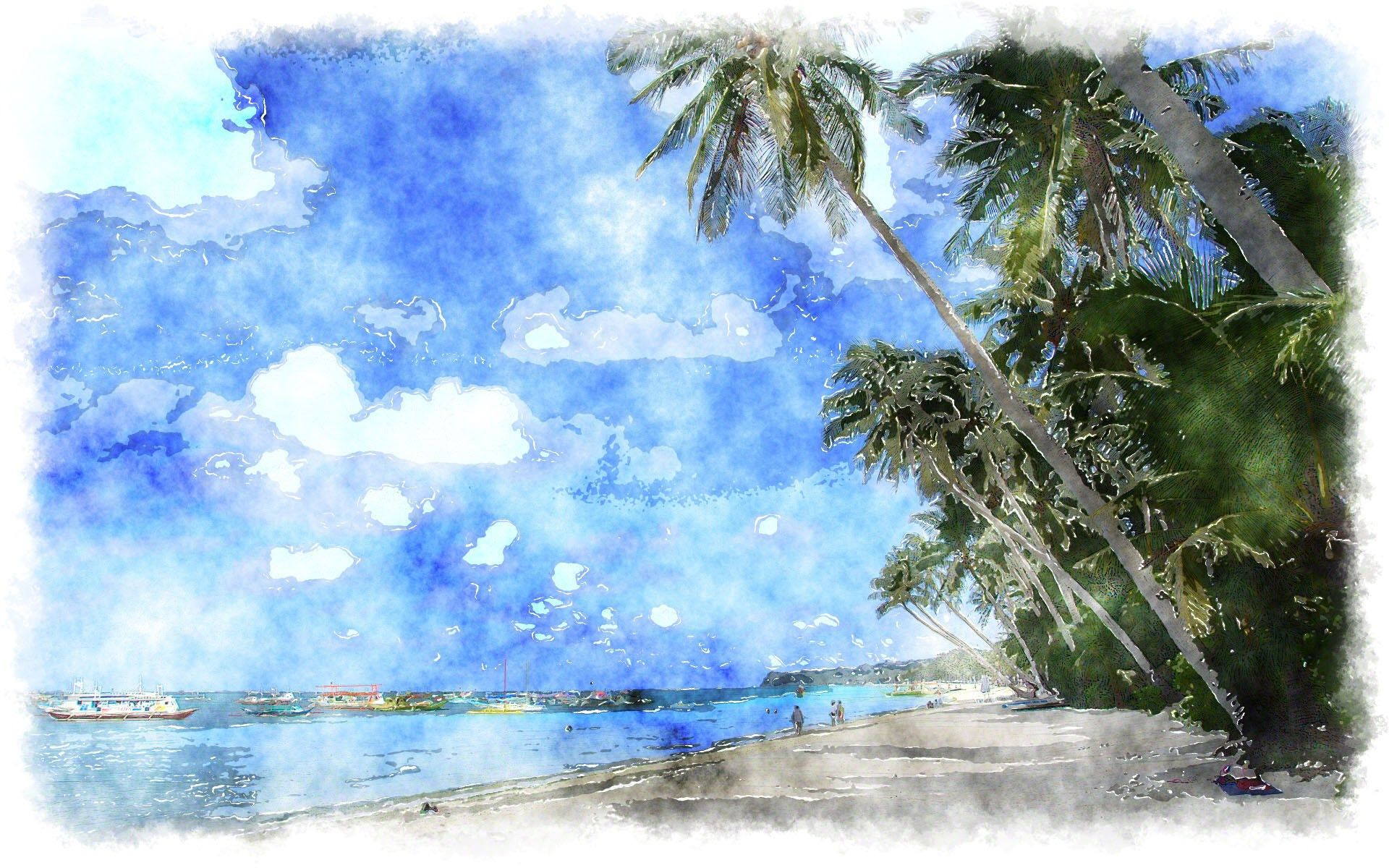 blue watercolor painting tropical island wallpapers
