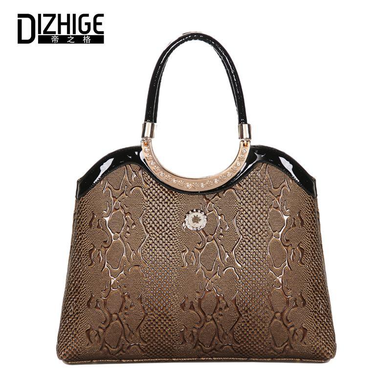DIZHIGE Women Handbag Leather Bag Ladies Top Handle Bag Female Tote Bag  Women Luxury Brand Designer Serpentine Pattern Woman Bag  Designer handbags bd87c424fae54