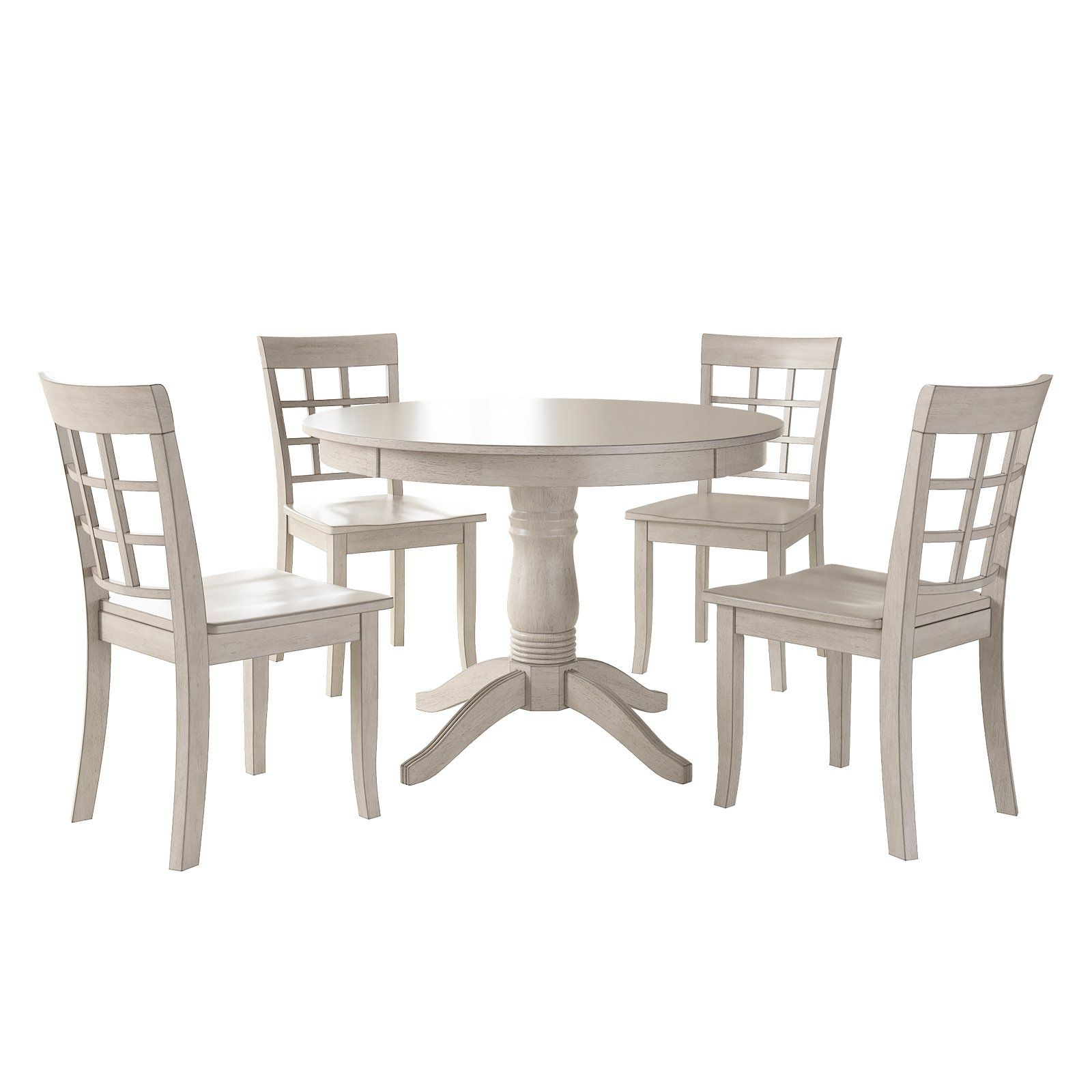 Weston Home Lexington 5 Piece Round Dining Table Set With Window Back Chairs Antique White Round Dining Table Sets