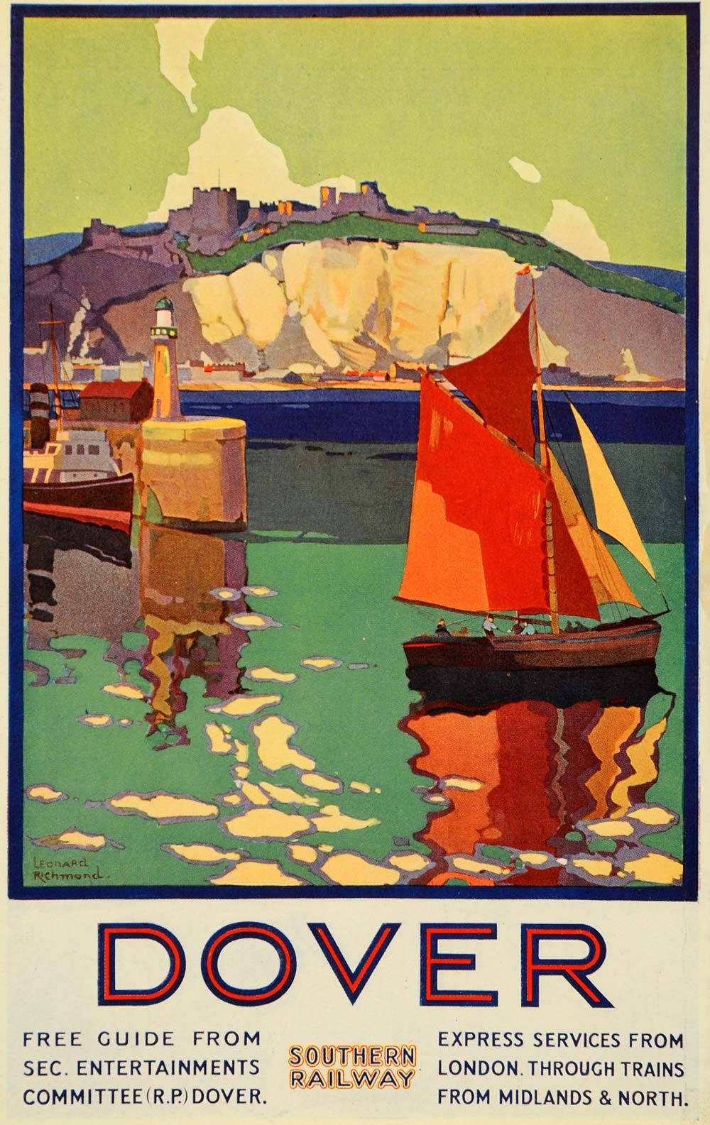 Travel Poster With Sailboats For Dover England Vintage Travel Posters Vintage Poster Art Retro Travel Poster