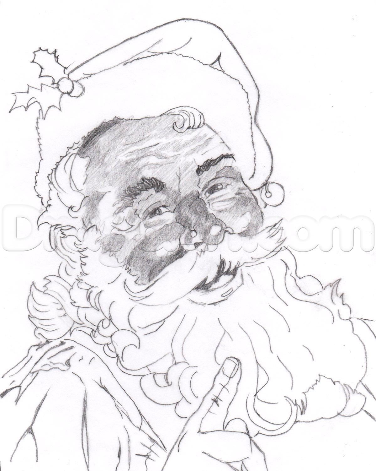 how to draw a realistic santa, santa claus step 18