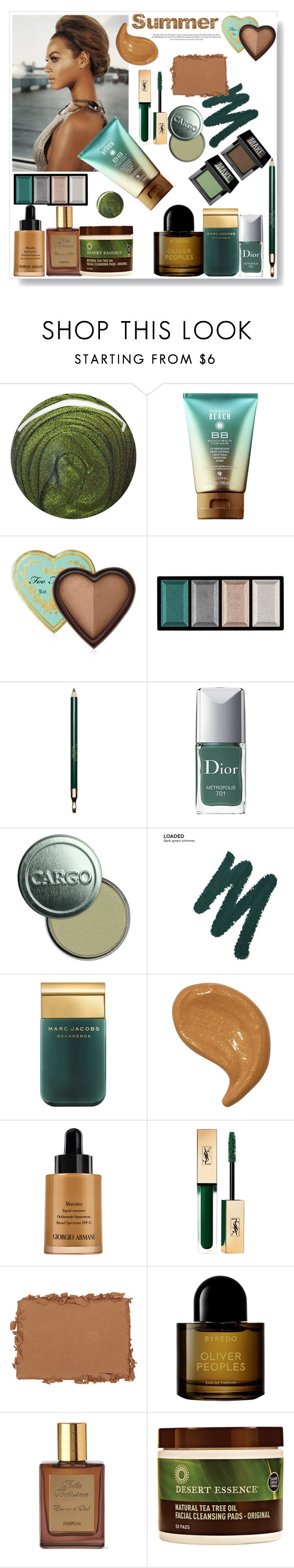 """""""Summer .."""" by gul07 ❤ liked on Polyvore featuring beauty, Jin Soon, Too Faced Cosmetics, Clé de Peau Beauté, Clarins, Christian Dior, CARGO, Urban Decay, Marc Jacobs and Giorgio Armani"""