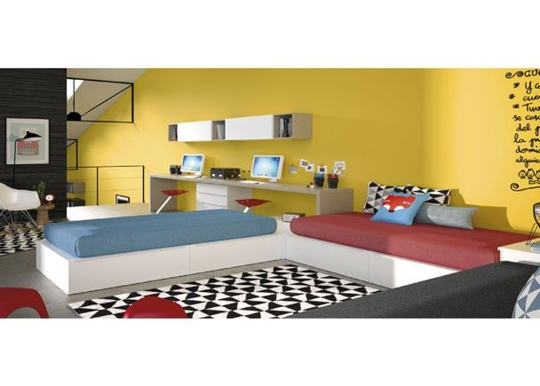 Habitaci n juvenil con 3 camas cubo con arc n elevable for Programa diseno habitacion juvenil