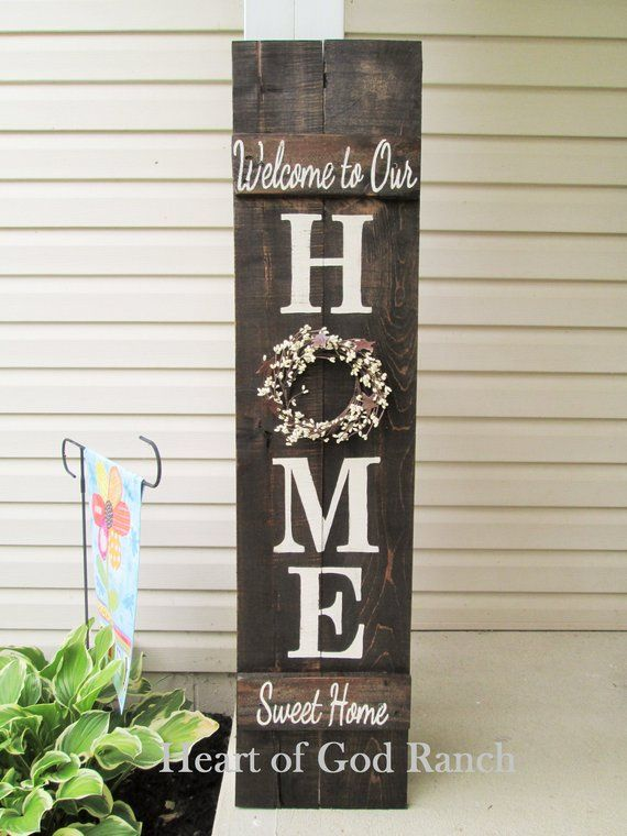 HOME Porch Sign Welcome Wreath Personalized Pip Berry 5' As for Me My House Reversible Option Two Sided Family Wood Sign Hand Painted #porchpaintideas