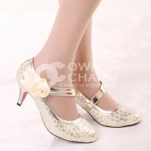 Mary Jane Kitten Heel Pale Gold Shoes Low Pumps