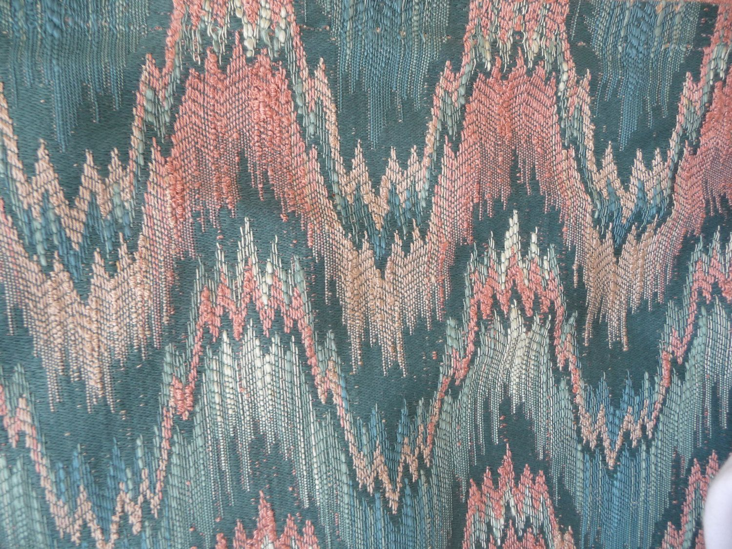 Missoni Like Fabric Flame Stitch Ikat Zig Zag Pink Teal Upholstery
