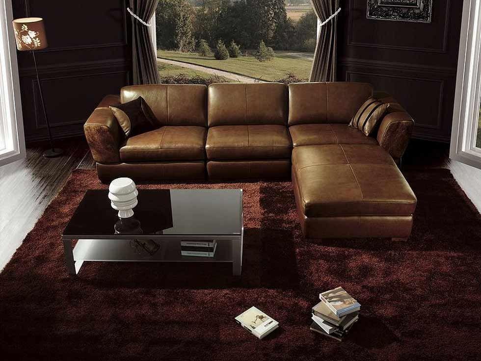 Braune Couchgarnitur 45 Leder Sectionals-Brown-Leder ...