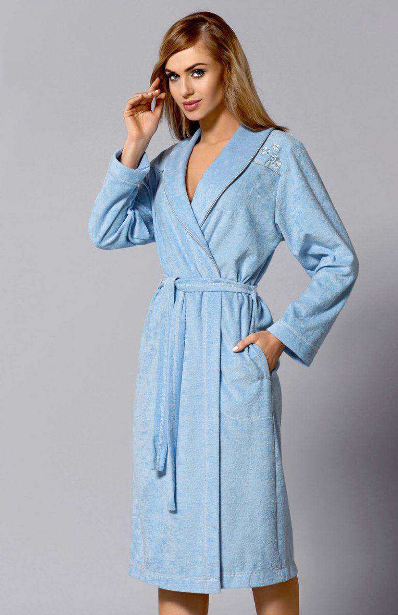 57f1a6b7a942ff L&L Oli Długi szlafrok Elegancki szlafrok damski, ozdobiony kwiecistym  haftem, fason dłuższy, bardzo elegancki, piękny, szalowy kołnierz