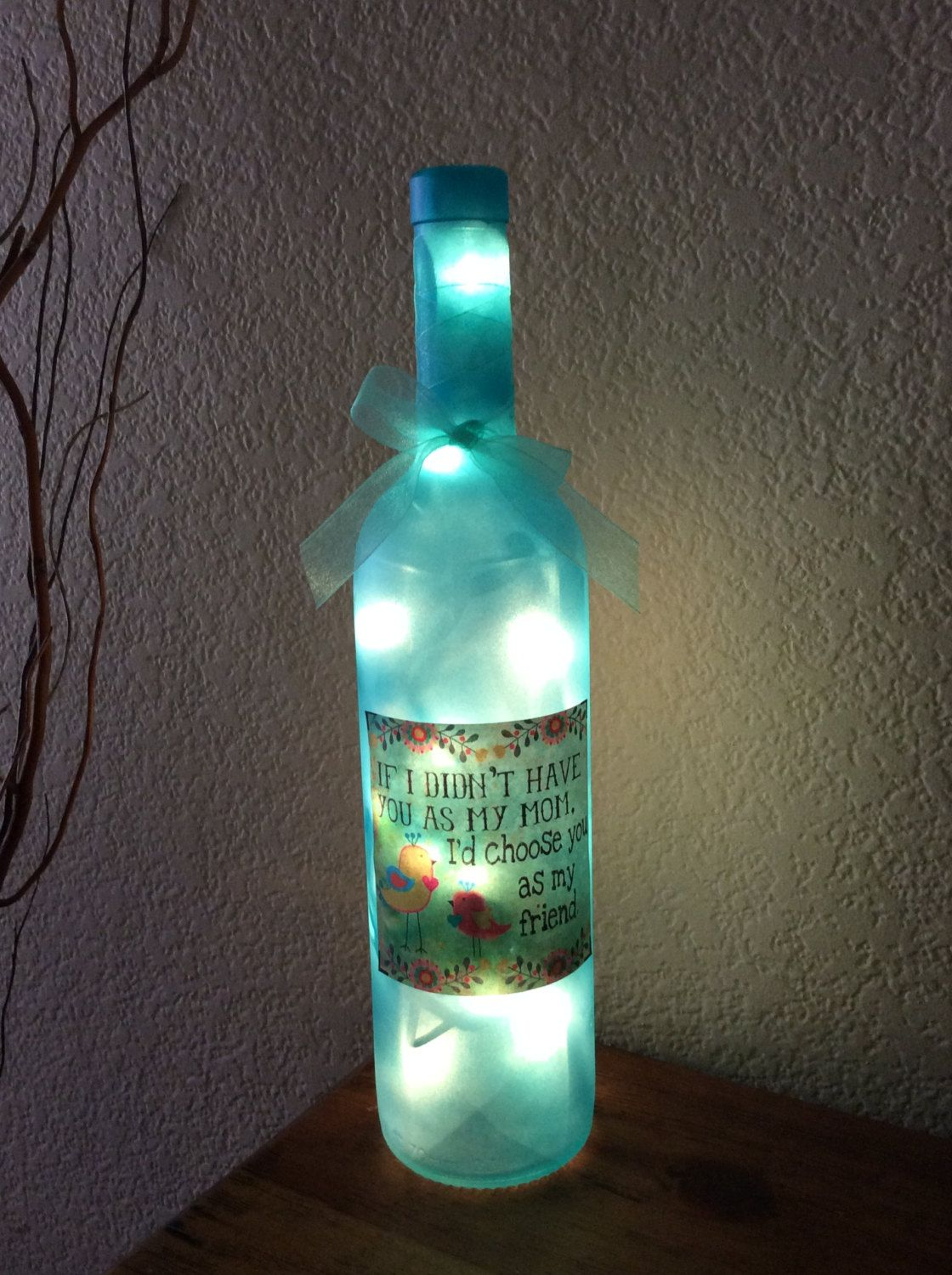 Wine Bottle Light, Mother\'s Day Gift , Home Decor, Recycled, Wine ...