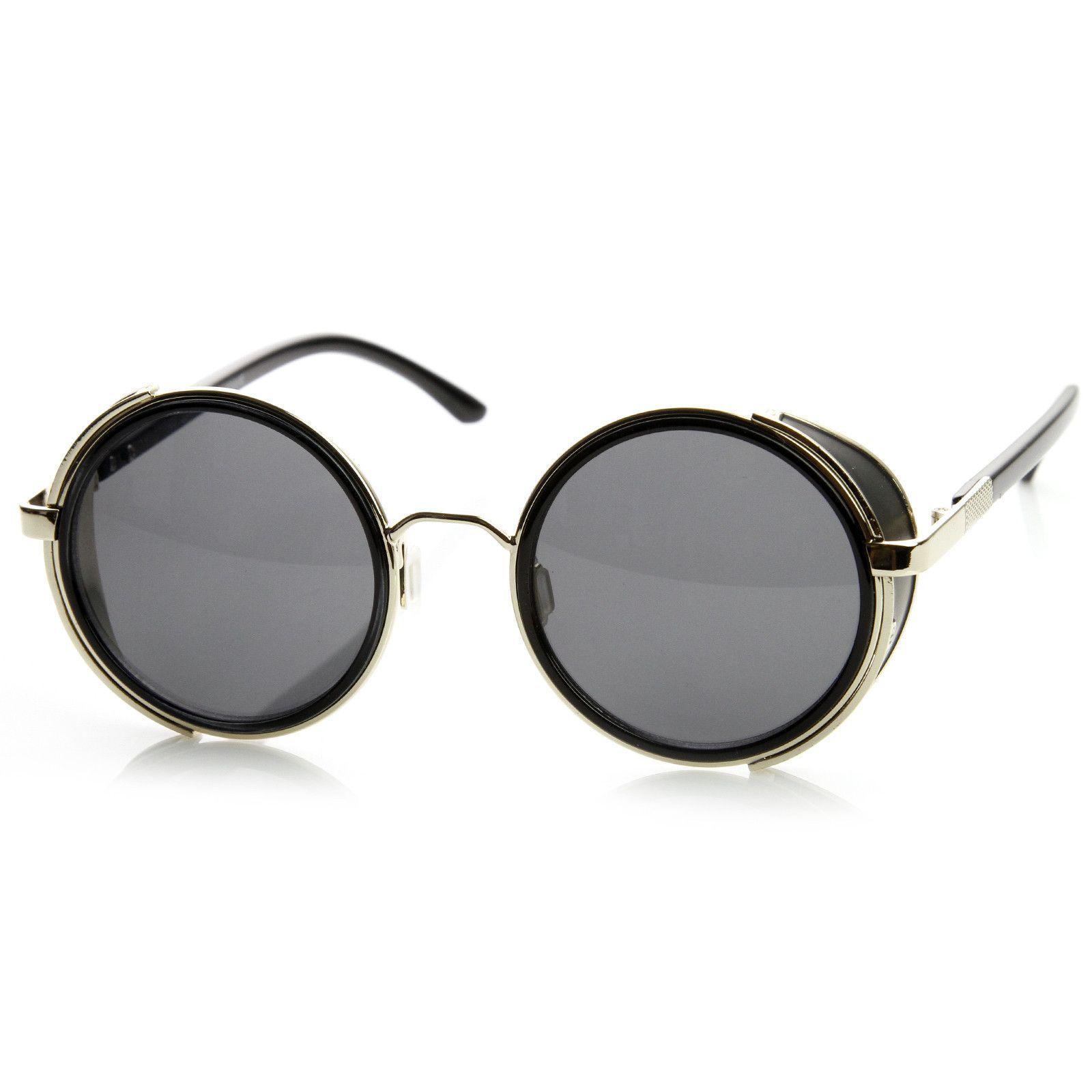 8910f4350661c Vintage Steampunk Studio Cover Round Metal Designer Sunglasses 8976