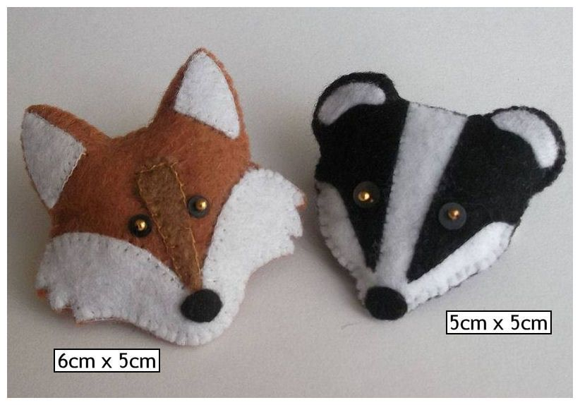 Badger, Fox, Bunny Rabbit Felt Brooch/Pin | Christmas Projects ...