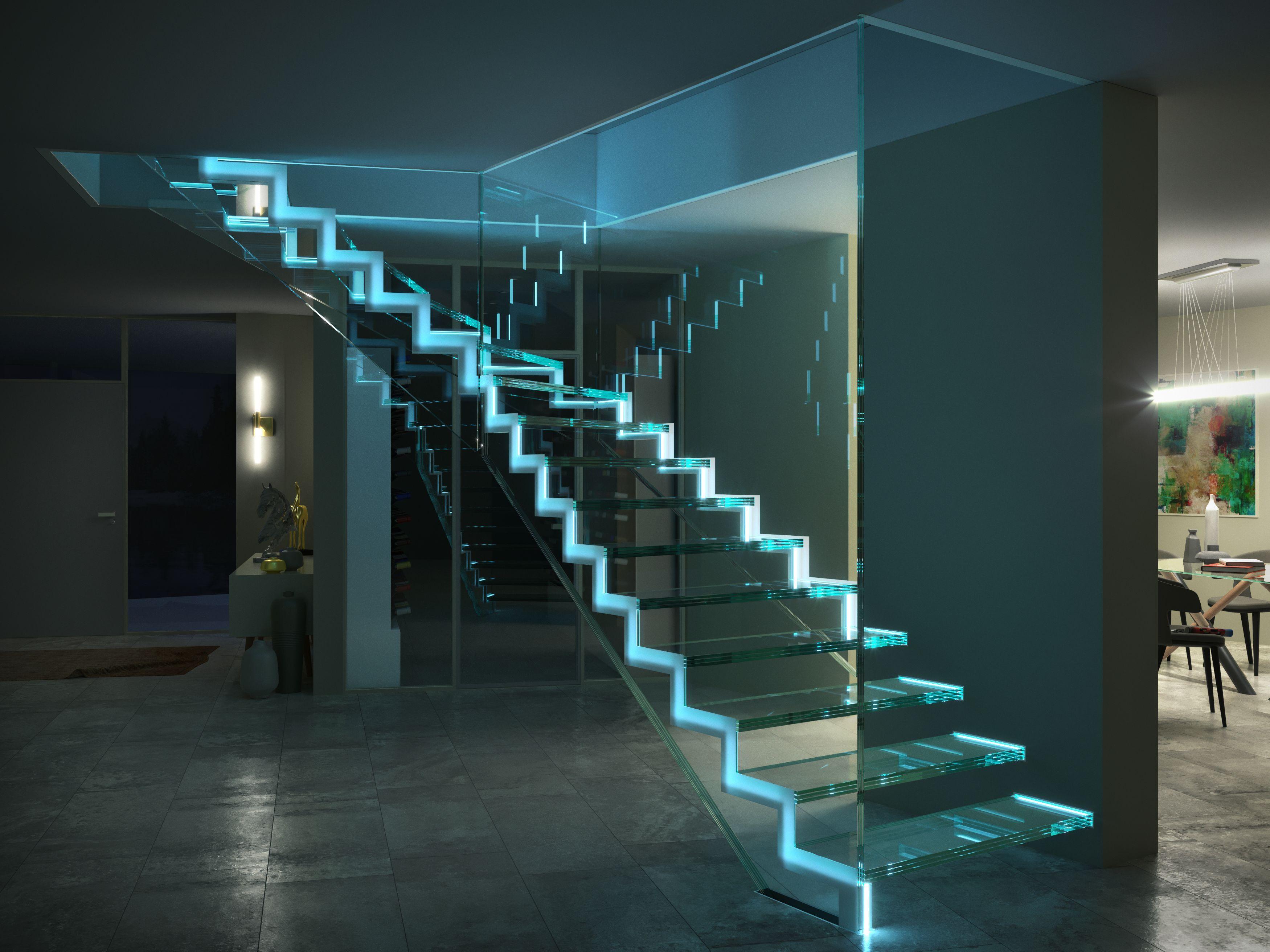 Einfaches haustürdesign ganzglastreppe mit led einfach siller treppen llertreppen